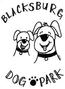 Dog Park Logo with Dog in the Center of Blacksburg Dog Park