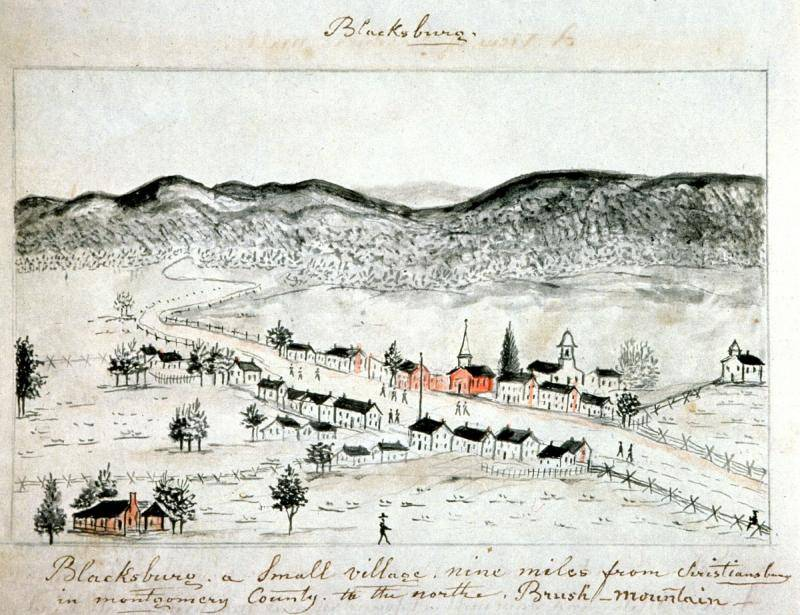 Historic Sketch of Blacksburg with text Blacksburg a Small Village nine miles from Christiansburg in Montgomery County to the north of Brush Mountain