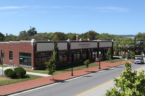 Front view of the Blacksburg Motor Company Building. This is home to the Planning and Building and Engineering and GIS departments.
