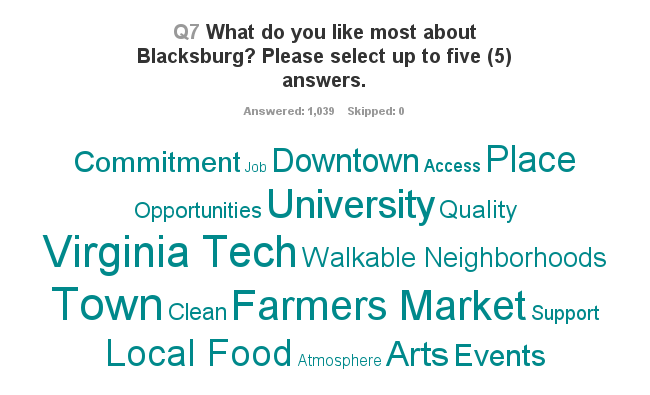 Like Most About Blacksburg Comp Plan Word Cloud 060717