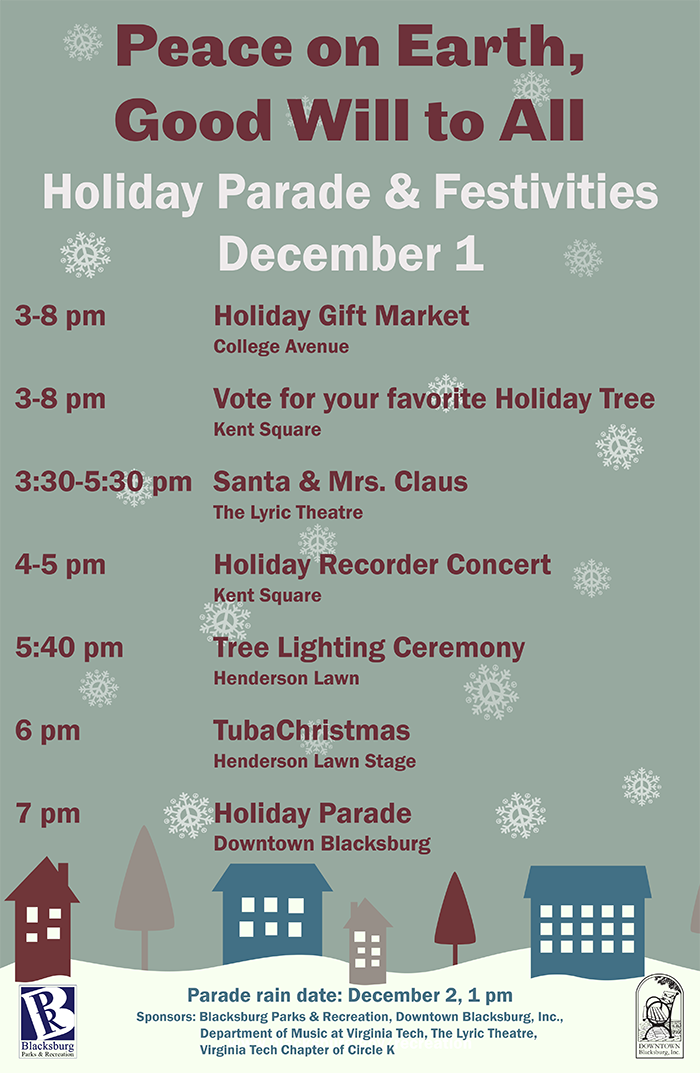 Poster describing all the events for Winter Lights Festival and parade on December 1, 2017