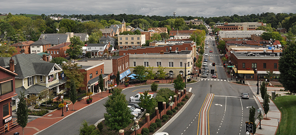 Overhead view of downtown Blacksburg from Alumni Mall looking south