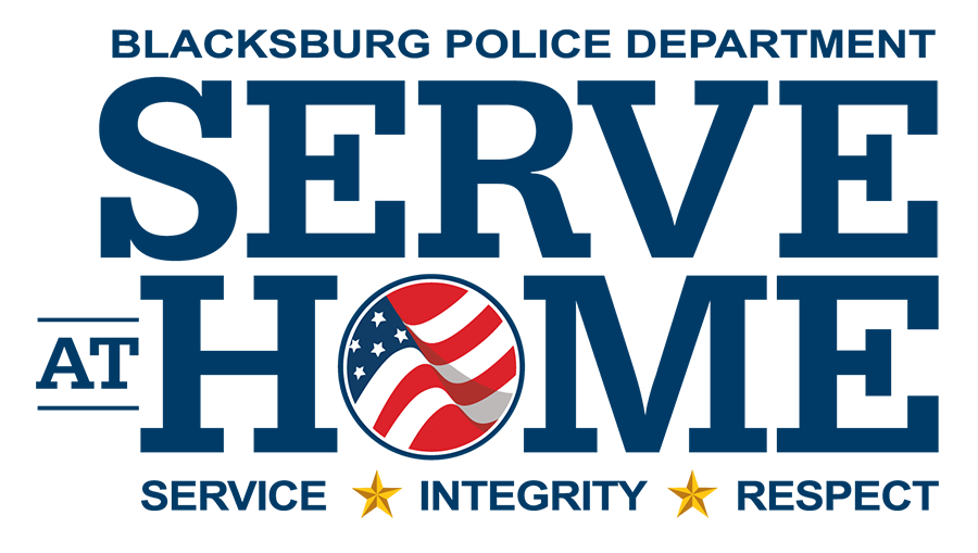 Blacksburg police department Serve at Home logo with American flag in the O of Home