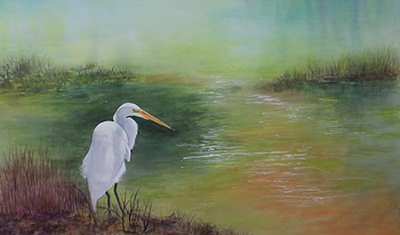 At the Edge of the Marsh painting by Betty Moore. Image shows a bird at in the foreground at a marsh.