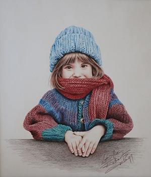 Leslie Roberts Gregg painting Winter Warmth. Shows a child wearing a scarf facing the camera.