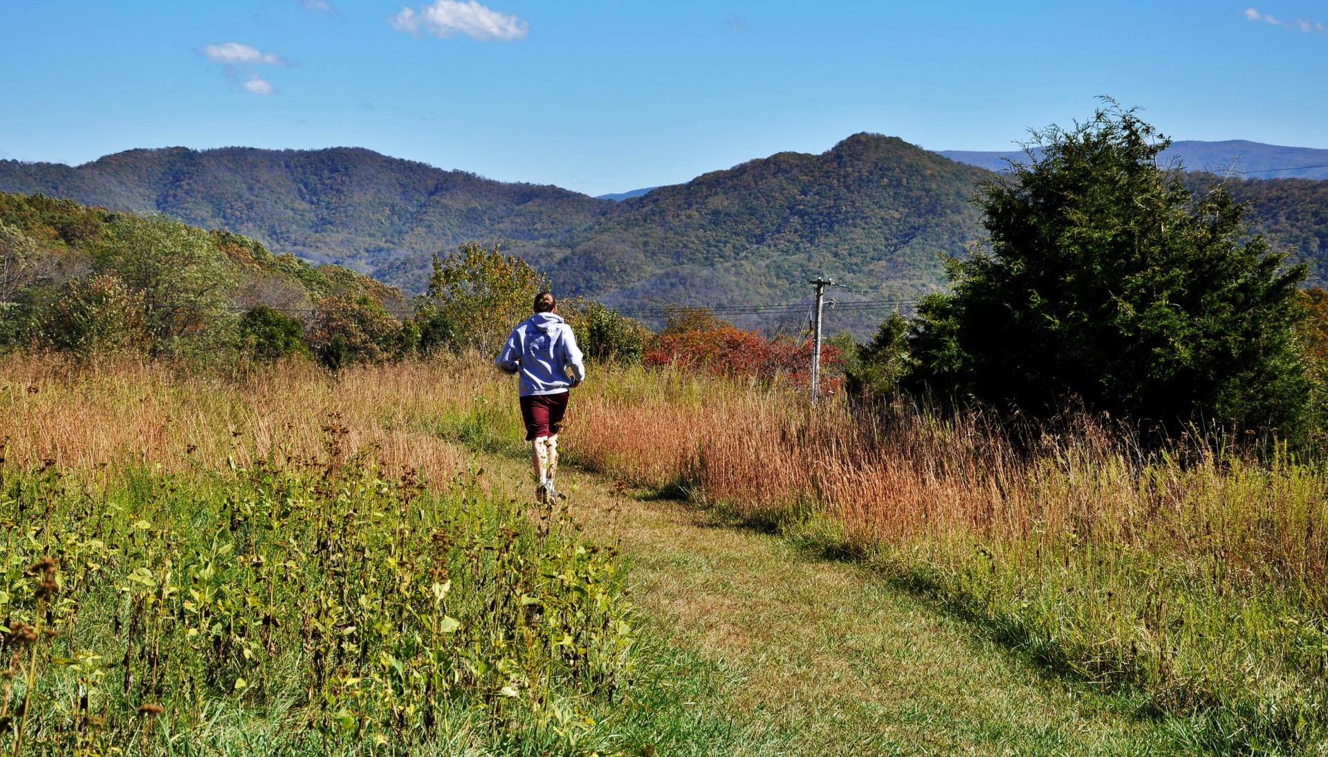 Man jogging away from camera at the Meadow at Nellie's Cave
