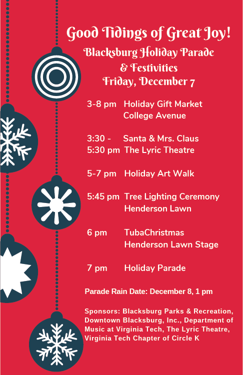Holiday Poster 2018 advertising the holiday parade and festivities on December 8