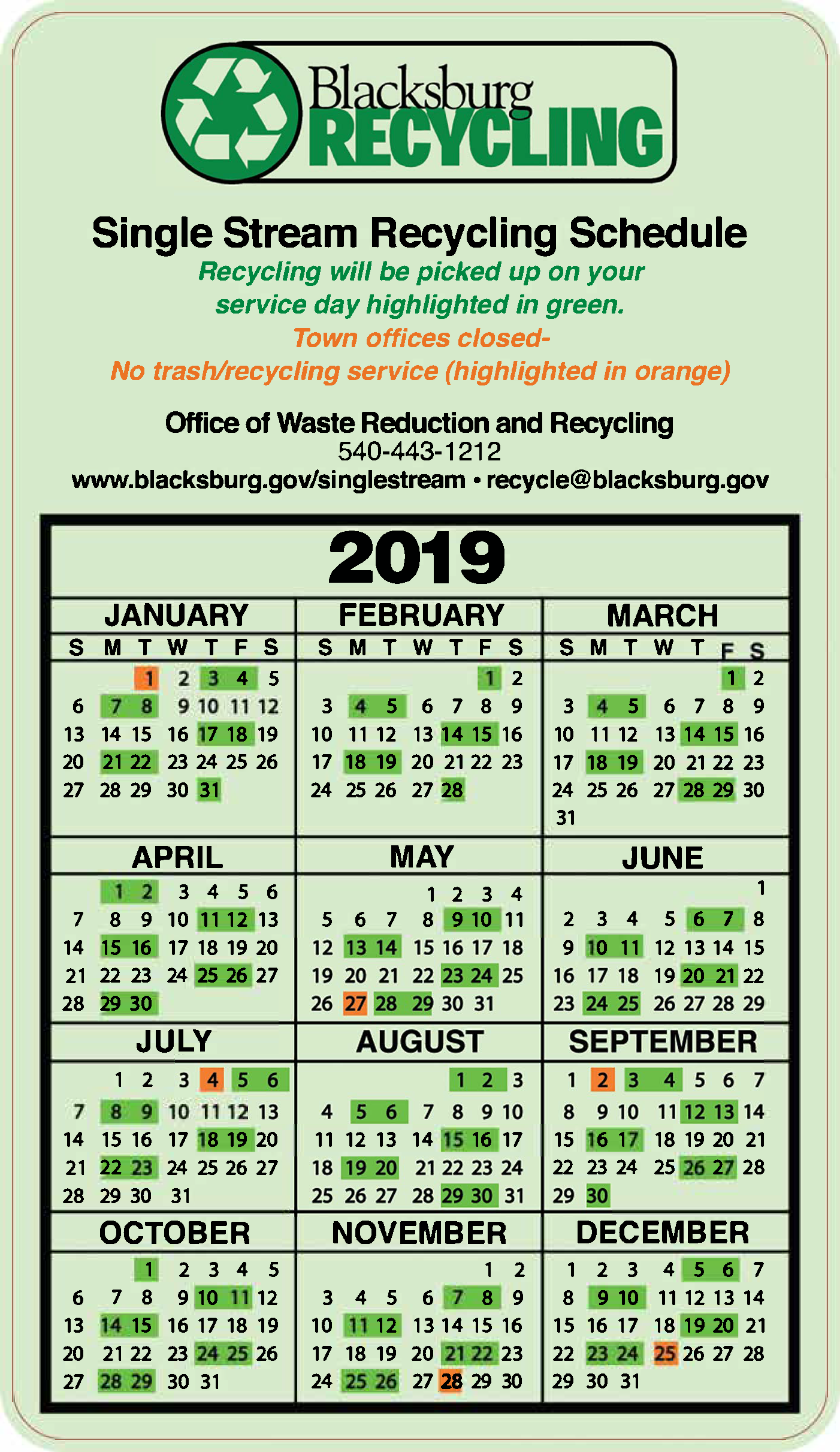 2019 Recycling calendar listing the recycling dates in green