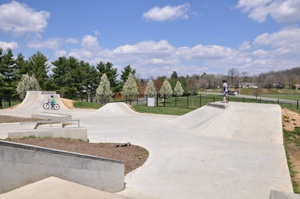 Wideshot of the Blacksburg Skate Park