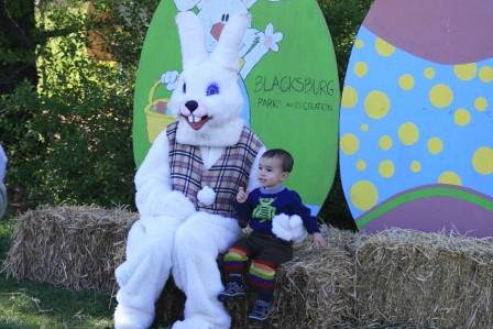 Easter Bunny sitting with child