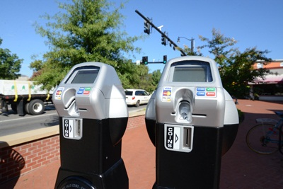 Downtown parking meters