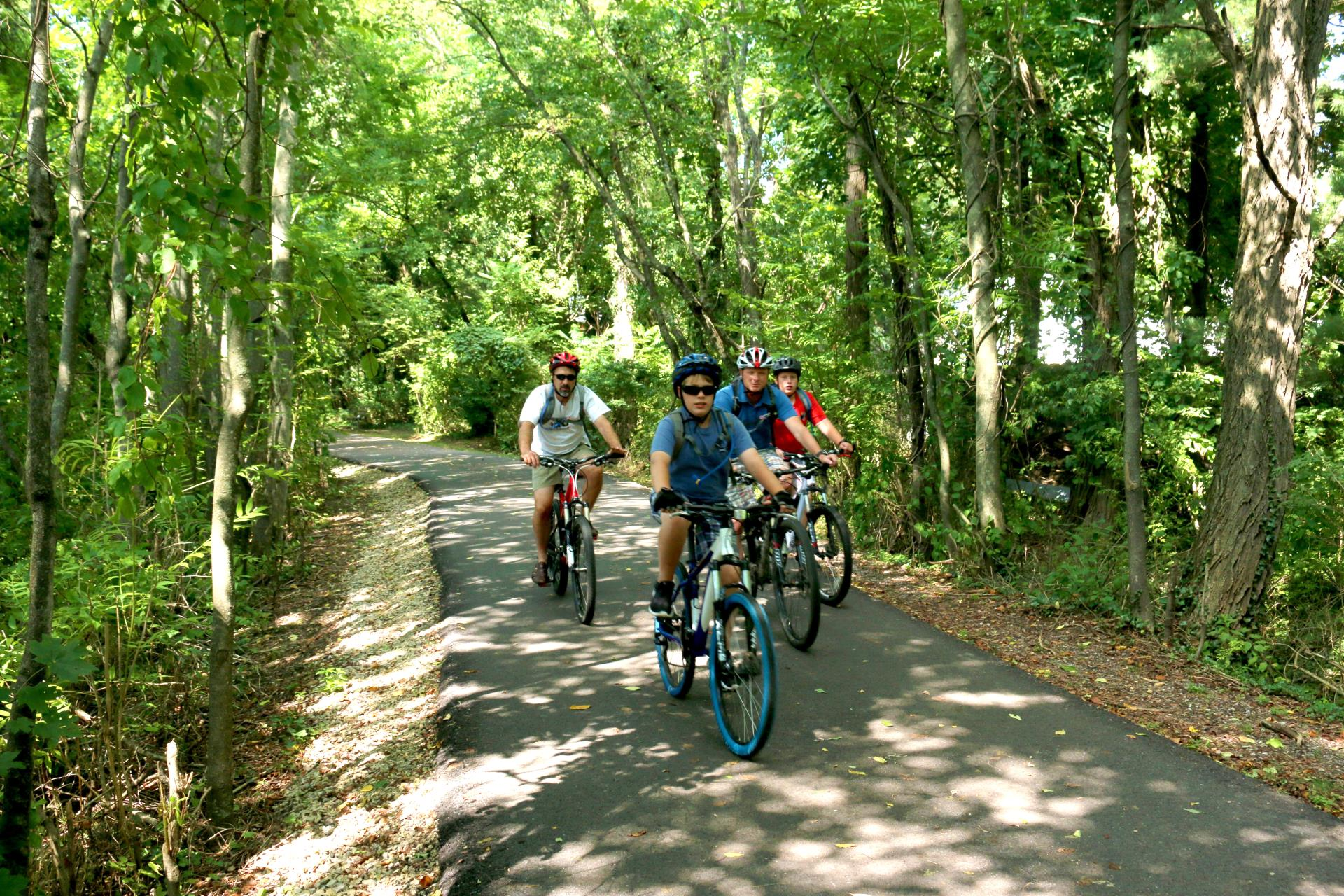 Three bike riders on the Huckleberry Trail in the fall